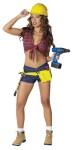 Tool Tease Adult Costume - This little Tool Driver has all the right curves.  Includes: Tie front top, shorts, tool belt & hammer.  Hat not included.