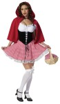 Red Hot Riding Hood Adult Costume - Cutest Little Red Riding Hood youll ever see!  Includes:  Black and white bodice with attached red gingham skirt and red cape. Stockings not included.