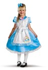 Deluxe Alice Child Costume - Deluxe costume has dress with attached pinafore, ruffle trim petticoat, and headband.