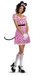 Sassy Minnie Mouse Adult Costume - Sweet pink dress with white dots has a detachable tail, ruffled petticoat, character headpiece, glovettes and matching knee highs.