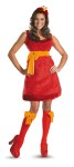 Sassy Elmo Adult Costume - Bright red plush dress includes knee-high stockings with bows and character headpiece. Precious costume!