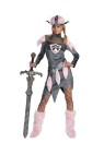 Barbarian Babe Adult Costume - Includes: dress, faux fur boot covers, belt with matching faux fur pelts attached and soft vinyl helmet.  Adult sizes 12-14.  Fence net pantyhose and sword not included.