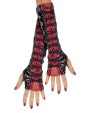 Lace Up Glovettes (Adult Size) - Leather-look fingerless gloves with net style middle and lace up trim over the netting.
