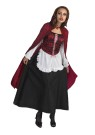 "Little Red Riding Hood Adult Costume - Red Riding Hood has never looked better! Includes: Long Sleeve Dress made of poly cotton with bodice lace-up look front and hooded cape. One size (up to 14) fits most.<br><br><span id=""LblCopyRight"" class=""style4"">(c) Disney</span><br>"