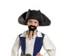 Disney Pirate Hat w/ Mustache/Goatee - Quality pirate hat with bead detailing, moustache and goatee. Child size.