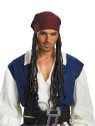 Disney Jack Sparrow Headband w/ Hair (Adult Size) - Red with black design headband with attached hair. One size fits most adults.