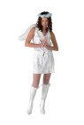 Luminosity Adult Costume - Includes: White Dress with slit. Attached belt and marabou trim. Marabou halo, knee-high boot coverings and angel wings that are illuminated with glow stick. Adult sizes 9-12.