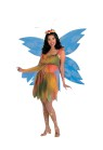Felicity The Woodland Fairy Adult Costume - Includes: Babydoll top has a sheer lower layer and matching skirt with sheer overlay, gold leg laces with orange jewel, large wings flower headpiece with attached antennae. Sweet! Fits women up to size 16.