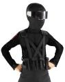 Black combat vest and holster comes with four pockets and features criss-cross strapping. Child size.
