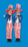 Uncle Sam Child Costume - Includes: Blue sequin jacket, white dickey with black bow tie, red & white striped pants and foam top hat with character band.