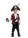 El Capitan Child Costume - Includes: top with attached jacket, pants, boot covers and hat with feather. Pirate sword not included.