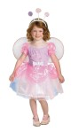 The Candy Fairy Child Lolli Costume - This confectionary delight includes purple dress with iridescent puff sleeves and skirt, detachable wings, detachable candy bow and lollipop headpiece.