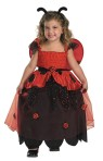 Lil Love Bug Child Costume - This adorable deluxe lady bug includes long dress with attached ladybugs, gathered bodice, detachable wings and headpiece.