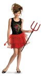Born Bad Teen/Child Costume - Cute update of the classic devil costume features dress with black top and red tulle skirt, headpiece and deatchable tail. Toy weapon not included.