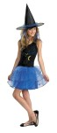 Midnight Witch Teen/Child Costume - Cute update of the classic witch costume features dress with black top and blue tulle skirt and black hat with blue material around bottom of cone. Colored hair accents not included.