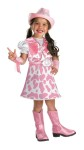 Wild West Cutie Child Costume - Your little cowgirl will look cute as a button in this costume. Dress with white top and pink cow-print skirt with attached vest, attached pink belt with silver buckle. Matching pink hat and detachable pink wrist cuffs with fringe also included.