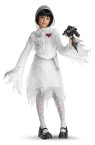 Skeleton Bride Child Costume - Includes white tattered-look dress with mesh hood and chain belt with heart lock. Flowers, tights and shoes not included.