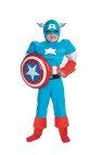 Captain of America Child Costume - Includes full length body suit with built-in muscle arms and upper torso.  Also includes character hood.Marvel, Captain America, and all character names distinctive likenes(es) are trademarks of Marvel Characters, Inc.  And are used with permission.  © 20