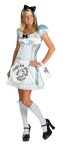 "Alice Adult Costume - Includes satin-like dress with apron, knee-high stockings, headband, and ""drink me"" wrist tag."
