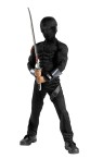 Snake Eyes Classic Muscle Costume includes jumpsuit with muscle torso and arms, fabric hood with visor. Toy sword not included.