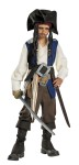 Deluxe Disney Jack Sparrow Child Costume - Includes shirt with attached vest, sash, belts with buckles, pants, boot covers, hat and bandana with beaded braids.