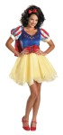 Snow White Sassy Adult Costume - An apple a day might be good for you, but if youre dressed as Snow White you may want to watch out! Dress with petticoat, detachable cape, lace-up corset, and bow headband. Shoes not included. Prestige costume.