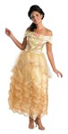 Belle Deluxe Adult Costume - Be the princess of your dreams! Yellow dress with gathered skirt overlay, pink rosettes, and matching headpiece. Shoes not included. Deluxe costume.