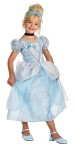 Cinderella Deluxe Child Costume - Wait until you see your own little princess in this Deluxe Cinderella costume. Dress with petticoat, sparkle print overlay, character cameo, matching headpiece and choker.