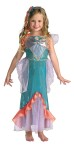 A deluxe little mermaid costume. Ariel Deluxe Child Costume inlcudes dress with sparkle overlay, character cameo and headband.