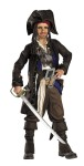 Pirates of Caribbean Captain Child Costume - Includes jacket, shirt with attached vest, across-the-chest belt with buckle, fabric sash, two belts with attached buckles, pants and boot covers. Also includes hat and bandanna with beaded braids.