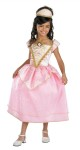 Royal Party Princess deluxe costume includes pink dress with gold detailing, attached sheer pink with gold glitter skirt overlay and pink and gold fabric tiara.