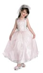 Deluxe Barbie My Wedding Day Child Costume - Includes one piece white gown with pink bodice inlay and detailing, and pink and glitter skirt overlay. Also includes sheer veil.