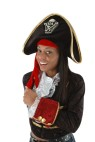 Pirate Hat - Black velvet pirate hat with front and a fabric lining. Adult size fits 57-61 cm heads (23.5 inches).