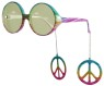 Peace Danglers Glasses - Hip frames with a multicolor finish add dangling peace symbols from each temple. - Metal hinges - UV 400 protection - Fits adults and kids 12 and up.