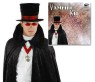 Vampire Kit - Top hat with blood red band, sleek vampire glasses, and ornate amulet with matching strap.