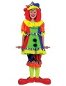 Spanky Stripes Clown Child Costume - Super bright, short sleeve dress with pom pom front, matching knickers and hat.