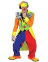 Spanky Stripes Adult Clown Costume - Super bright colored clown suit. Short front tail coat, matching pants, hat and bow tie.