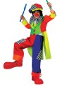 Spanky Stripes Clown Child Costume - Super bright colored clown suit. Short front tail coat, matching pants, hat and bow tie.