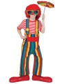 Striped Clown Overalls Child Costume - Multi colored overalls with large button design and suspenders attached.