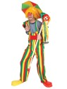 Choo Choo Charlie Overalls Adult Costume - Multi colored overalls with large button design and suspenders attached.