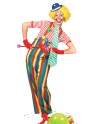 Striped Clown Overalls Adult Costume - Multi colored overalls with large button design and suspenders attached.