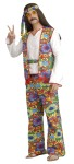 Hippie Dippie Man Adult Costume - From The Age Of Aquarius! White v-neck shirt, floral print vest with red trim, matching bell bottom pants with elastic waistband. Floral headband and belt. One size fits most. Shoes, glasses, necklace, and wig not included.