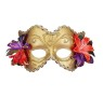 Venetian Mask - For A Great Look! Made of plastic, flowers and fabric, Gold mask with gold trimmings and flower accents.