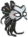 Venetian Couple Mask - Here Is The Accessory To Complete Your Look! White mask with black trimmings, black feathers, and red stones all attached to a headband.