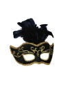 Half Style Mask - This half style mask is Black with Gold accents and feathers. The mask has an attached, rigid plastic, U shaped headband which allows the mask to swivel down over the face or up over the head.