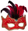 Half Style Mask - Red and gold trimmed mask. Red and black feathers finish off the look and a gem sits in the center.