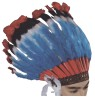 Deluxe Native American Headdress - Tall colorful feather headdress with 2 hanging marabou sidepieces and embroidered-look headband.