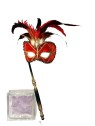 Venetian Mask - Red mask with gold detailing. Feathers stand in the middle, with stick to hold up the mask.