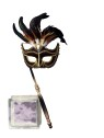 Venetian Mask - Brown and black feather half mask with pole to hold up.