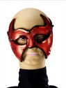 Devil Half Mask - Beautiful Venetian half mask with Silver accents and attached stick.